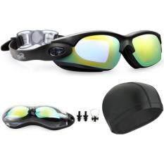 เด็กผู้ใหญ่กันน้ำ Anti - Fog Uv แว่นตาและ Pu ยืดหมวกว่ายน้ำหมวกดำน้ำชุดผสม - Intl.