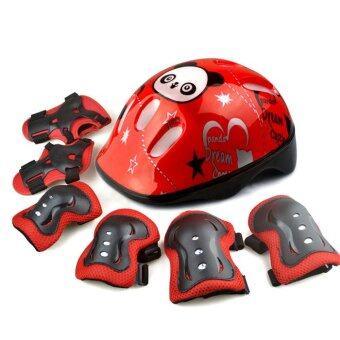 ชุดสนับป้องกัน และ หมวก สำหรับเด็ก สีดำ/แดง 3-10 ขวบ