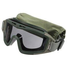 ซื้อ Cs Game Airsoft Explosion Proof Goggle Glasses Eye Protection Mask With 3 Lenses Green จีน