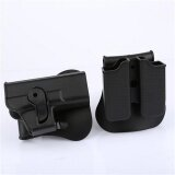 ส่วนลด Cy Outdoor Right Hand Rotary Roto Retention Pisto Holster Glock 17 Paddle Double Magazine Pouch Tactical Case Clip For Glock 17 Black Intl Unbranded Generic