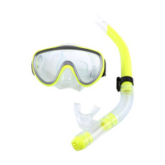 Diving Tempered Glass Snorkel Set Full Dry Breathing Tube Snorkeling Equipment Yellow Intl ใหม่ล่าสุด