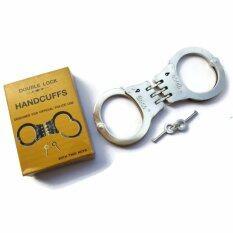 ขาย Double Lock Handcuffs Designed For Official Police Use ชุดกุญแจมือเหล็กดับเบิลล๊อค พร้อมลูกกุญแจ 2 ดอก