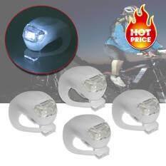 ราคา Elit ไฟฉายLedติดจักรยาน แฮนด์ฯ หมวก แบบซิลิโคน กันน้ำ Silicone Bike Light Led White 4 ชิ้น Elit