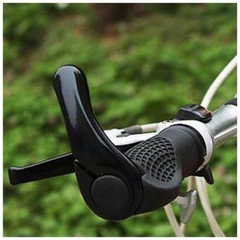 การออกแบบตามหลักสรีรศาสตร์ Antiskid จักรยานกันกระแทก Handlebar Grips กับก้านอะลูมิเนียมอัลลอยด์ปลาย (สีดำ) - INTL-