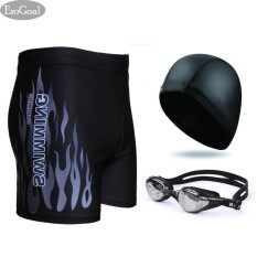 Esogoal Swim Swimming Goggles, Short Swim Swimming Pants Swimsuit And Swimming Cap Swimming Accessory For Men And Women (black) - Intl