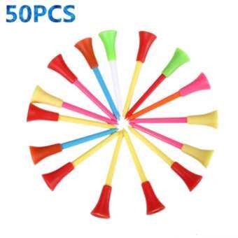 EXCEED 50Pcs  Rubber Cushion Top Plastic Golf Tees 72mm / 3
