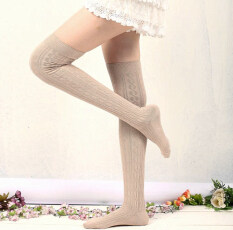 ขาย Fashion Women Knit Cotton Over Knee Thigh Stockings Pantyhose Tights High Socks Black Unbranded Generic ออนไลน์