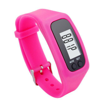 G2G นาฬิกาดิจิตอลสายรัดข้อมือหน้าจอ LCD สำหรับใส่วิ่งหรือเดิน สีชมพู