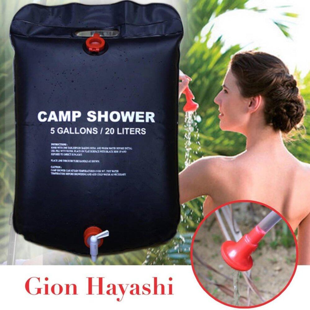 Gion-ถุงอาบน้ำกลางแจ้ง 20L Solar Energy Heated Outdoor Camping Hiking Activity PVC Camp Shower Pipe Bag