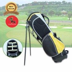 ขาย ซื้อ ออนไลน์ Gion ถุงกอล์ฟผ้าร่ม กันน้ำ แบบขาตั้ง สีดำ คาดเหลือง