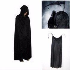 Halloween Costume Theater Prop Death Hoody Cloak Devil Long Tippet Cape Black - Intl.
