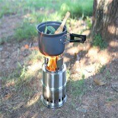 ซื้อ Hanyu Portable Folding Stainless Steel Lightweight Wood Stove Outdoor Cooking Picnic Camping Burner Intl ออนไลน์