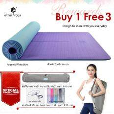 ราคา Hatha Yoga เสื่อโยคะ Tpe สีม่วง ฟ้า รุ่น วินเทจ สอง Layers สองสี ใช้ได้สองด้าน กว้างถึง 66 Cm หนา 6 Mm ใช้วัสดุ Tpe คุณภาพสูง กันลื่นดี พกพาสะดวก พิเศษแถม ถุงใส่เสื่อ เชือกรัดเสื่อ และ ผ้าคาดผม มูลค่า 840 บาท เป็นต้นฉบับ