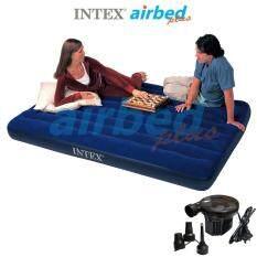 Intex ส่งฟรี ที่นอนเป่าลม แคมป์ปิ้ง ปิคนิค 5 ฟุต (ควีน) 1.52x2.03x0.22 ม. รุ่น 68759 + ที่สูบลมไฟฟ้า
