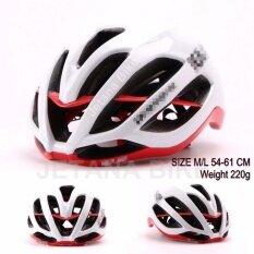 ซื้อ Jetana Bike หมวกจักรยาน หมวกกันน๊อคจักรยาน น้ำหนักเบา เสือหมอบ เสือภูเขา ใช้ได้ทั้งชายและหญิง ขนาด M L สีขาวแดง ใหม่