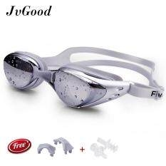 ส่วนลด Jvgood Mirrored ซิลิโคนแว่นตาว่ายน้ำแว่นตาดำน้ำ 100 U V ป้องกัน Anti Fog Anti Shatter กันน้ำแก้ว Jvgood