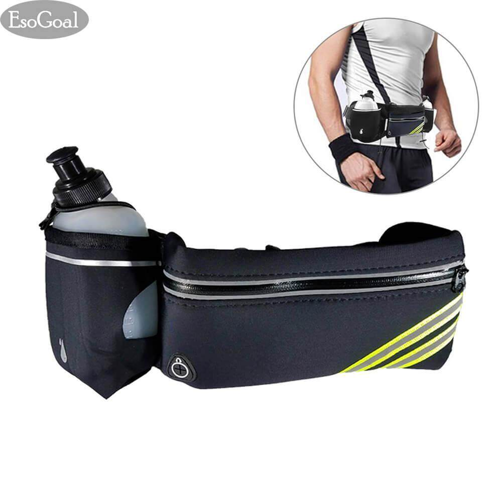 JvGood กระเป๋ากีฬาแบบคาดเอวใส่โทรศัพท์มือถือกันน้ำได้ Running Belt with Water Bottle Waterproof Waist Pack for Men and Women Universal Size to Hold Cell Phone, Wallet, and Keys