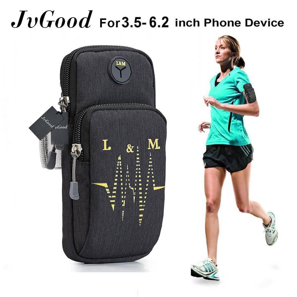 "JvGood กระเป๋าคาดแขน กระเป๋าโทรศัพท์ Sports Armband Water Resistant with Multifunctional Pockets Workout Running ArmBag Arm Band Outdoor Pouch for 3.5~6.2 "" Smartphone Cell Phone - intl"