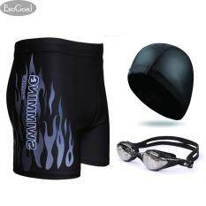 Jvgood Swim Swimming Goggles Short Swim Swimming Pants Swimsuit And Swimming Cap Swimming Accessory For Men And Women Black เป็นต้นฉบับ