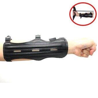 HUWAIREN Arm Guard ที่ป้องกันแขนสีดำ อาร์มการ์ดหนัง อุปกรณ์ป้องกันไม่ให้สายธนูตีแขน ป้องกันสายธนูดีดแขน อุปกรณ์ยิงธนู BLACK Archery Handmade Leather Armguard for Bow Practice