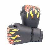 Kinglion Sport นวมชกมวยเด็กลายไฟสีดำ นวมมวยสำหรับเด็ก นวมต่อยมวย นวมซ้อมมวยไทย นวมเด็ก Black Fire Flame Pu Leather Muay Thai Kick Boxing Gloves For Kids เป็นต้นฉบับ