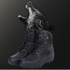 ขาย Leather Ankle High Military Tactical Boots Waterproof Hiking Boots Army Combat Comp Toe Side Zip Work Boots For Men Color Black Size 45 Intl จีน