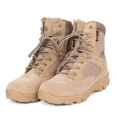 ราคา Leather Ankle High Military Tactical Boots Waterproof Hiking Boots Army Combat Comp Toe Side Zip Work Boots For Men Color Sand Color Size 45 Intl ใหม่