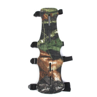 Leather Shooting Archery Arm Guard Protect Safe 4 Straps Camouflage