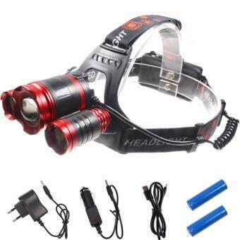 ไฟฉายLED 3 หัว แบบคาดหัว headlamp 6000 Lumenสีแดง