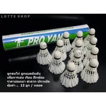 Lotte ลูกขนไก่ ลูกแบดมินตัน เพื่อการเรียน เล่น ฝึกซ้อม ราคาย่อมเยา - (12 ลูก/ หลอด)