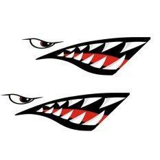 Magideal 2 ชิ้นฟันปลาฉลามปากสติกเกอร์ติดข้างมอเตอร์ไซค์เรือคายัคเรือแคนูเรือเรือ - Intl.