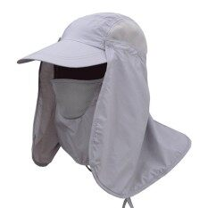 Men And Women Outdoor Sun Protection Fishing Hat With Detachable Face Neck Cover Flap Summer Cycling Quick Drying Cap Color Light Grey Hat Size F Intl ใหม่ล่าสุด