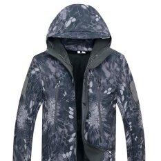 ราคา Men Softshell Military Tactical Hoodie Fleece Jacket Outdoor Camping Hiking Pants Set Color Ash Black Size L Intl Unbranded Generic