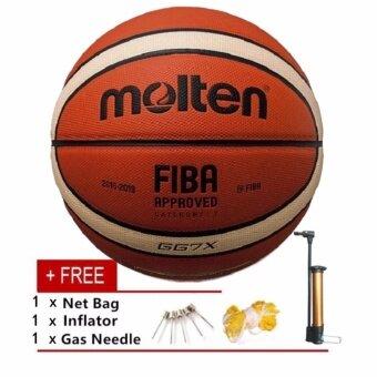 Molten GG7X ในร่มกลางแจ้งหนังเทียมหนังบาสเก็ตบอลอย่างเป็นทางการขนาด 7 สวมใส่บาสเกตบอลการฝึกซ้อมอุปกรณ์