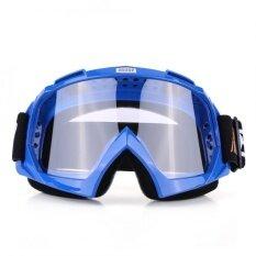 Motorcycle Motocross Dirt Bike Off Road Racing Goggles Ski Glasses Eyewear Blue Clear Lens Intl ถูก