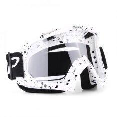 ส่วนลด สินค้า Motorcycle Motocross Off Road Racing Goggles Ski Glasses Eyewear White Black Spot Clear Lens Intl