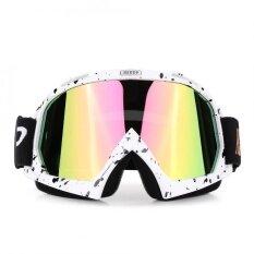 ขาย Motorcycle Motocross Off Road Racing Goggles Ski Glasses Eyewear White Black Spot Tinted Lens Intl Unbranded Generic ผู้ค้าส่ง