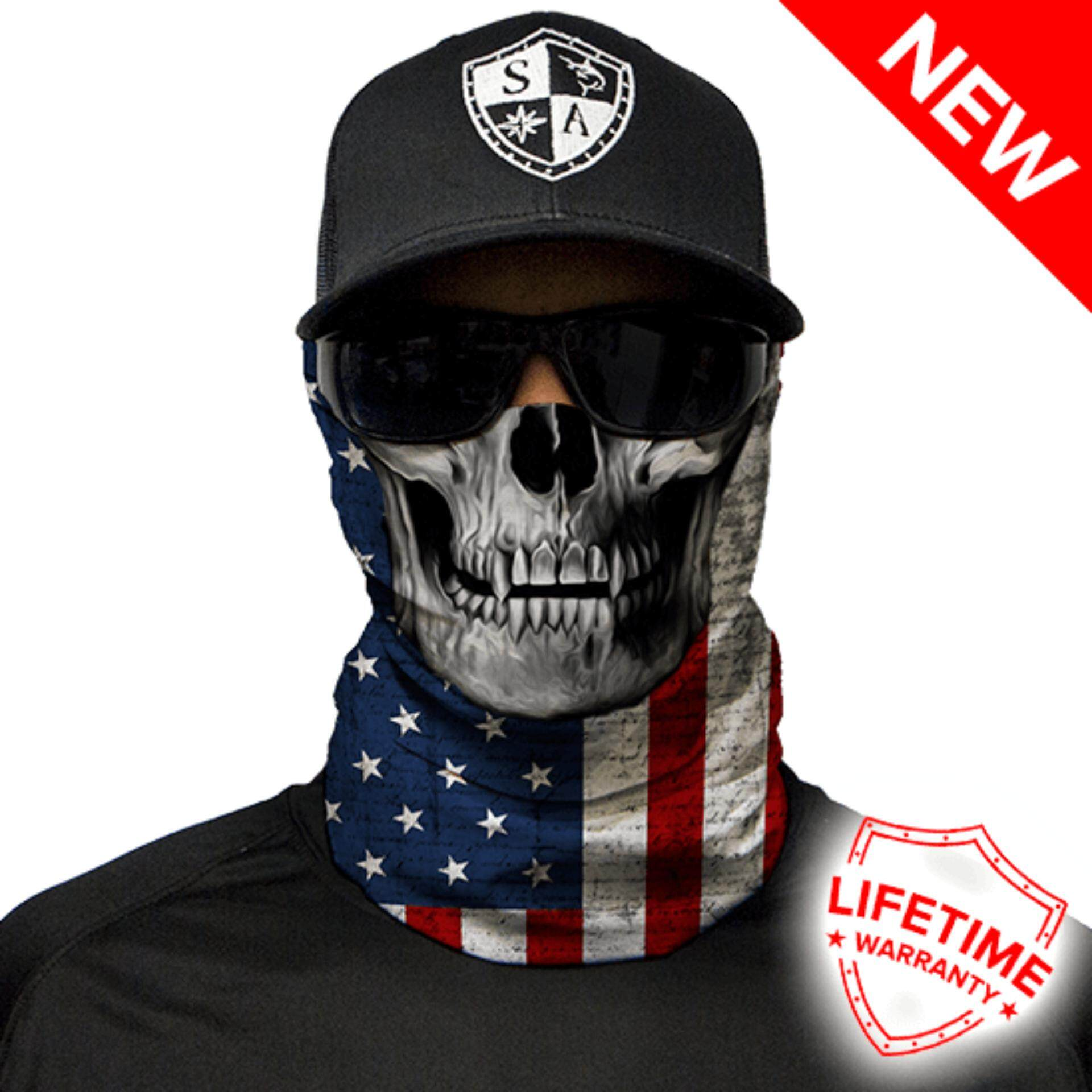 MULTI-USE FACE SHIELDS ™ -  SA American Flag Skull