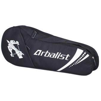 มัลติฟังก์ชั่เทนนิสอุปกรณ์กระเป๋าแบบพกพา Unisex GYM สควอช เทนนิสแบดมินตันถือ 3 ถุงแร็คเก็ตแร็คเก็ต (สีดำ)