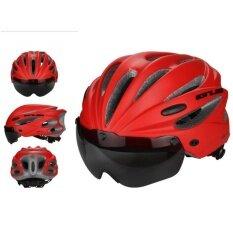 Niceeshopbike หมวกกันน็อกขี่จักรยานที่ถอดออกได้หมวกกันน็อคสำหรับขี่จักรยาน Visor Shield ปรับได้ผู้ชายผู้หญิงแผนที่จักรยานภูเขาความปลอดภัยของหมวกกันน็อคป้องกัน (สีแดง) - Intl.