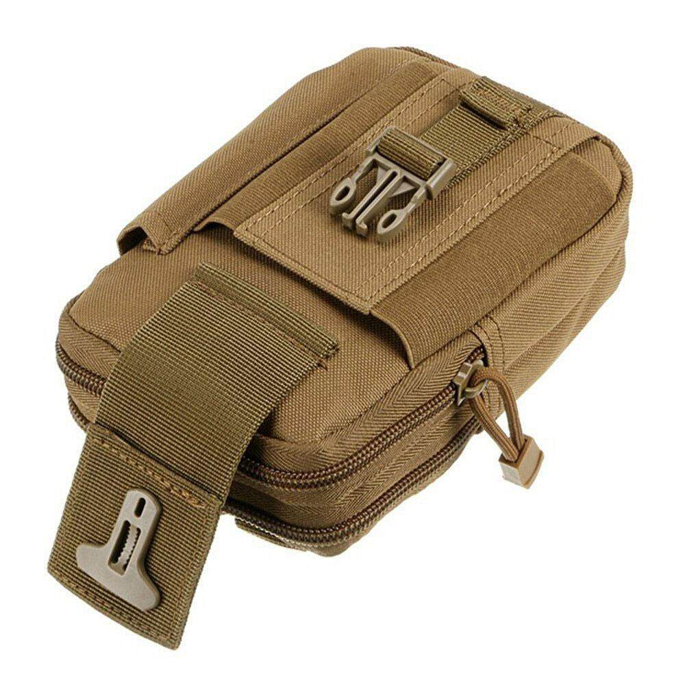 noion Men's Outdoor Camping Bag Hiking Pouch Military Army Waist Pack With Belt Loop,Khaki