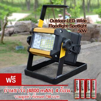 Outdoor 50W LED Wide Floodlight Spotlight ไฟ เอลอีดี สปอร์ตไลท์ รุ่น LRW-Y-002 ไฟฉายฉุกเฉิน ทรงสี่เหลี่ยม กระจายแสงไฟ สาดส่องเป็นวงกว้าง น้ำหนักเบา มีระบบ ไฟเตือนฉุกเฉิน สีแดง สีน้ำเงิน (หน้ากากอลูมิเนียม สีเหลือง)