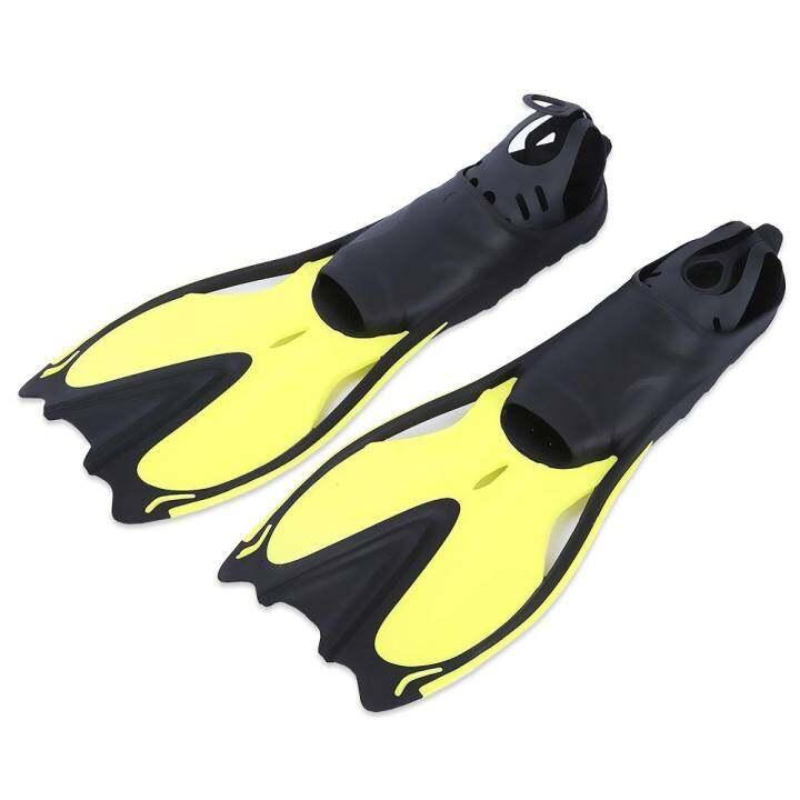 ซื้อที่ไหน Paired Swimming Flippers Submersible Fins Snorkeling Shoes (Yellow) – intl