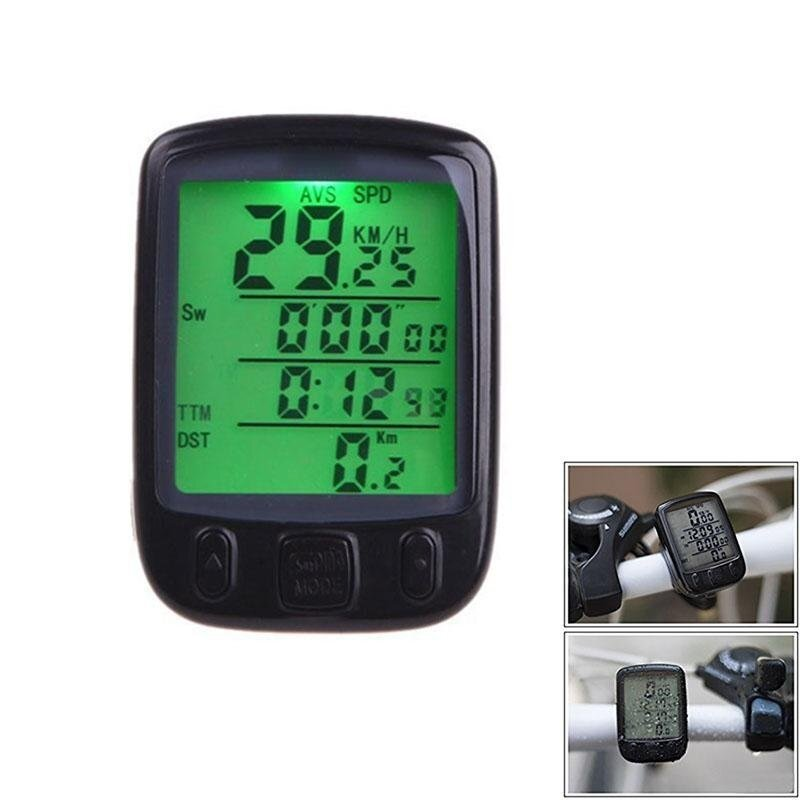 PAlight LCD Display Cycling Bike Bicycle Computer Odometer Speedometer Waterproof with Green Backlight - intl