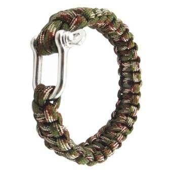 PAlight Outdoor Military Survival U Shap Steel Buckle Parachute Cord Rope Bracelets Woven Emergency Bangles - intl-