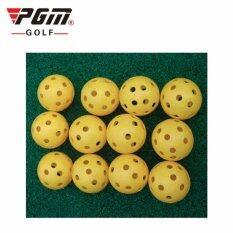 Pgm  ลูกกอล์ฟ พลาสติก สำหรับฝึกหัดตีกอล์ฟ  แพ็ค 12 ลูก (q009)(red).