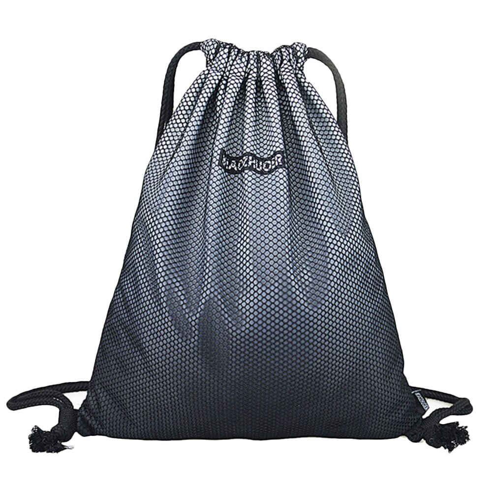 Portable Polyester Drawstring Bag Leisure Travel Sports Gym Lightweight String Backpack Gray - intl