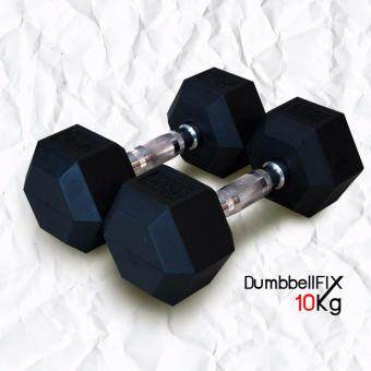 Power Reform ดัมเบลหุ้มยาง ดัมเบลแบบFIXเหลี่ยม DumbbellFIX ขนาด 10 กิโลกรัม 1คู่ (Black)