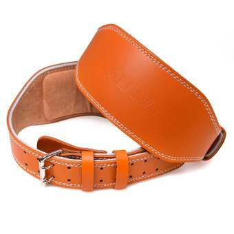 POWER-UP เข็มขัดยกน้ำหนักหนัง  VALEO รุ่น Leather Belt หนังแดง เอว 35-40 นิ้ว