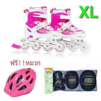 รองเท้าอินไลน์สเก็ต Premium Inline Skate BRAMAN Aluminium TracksABEC-7 Wheels with Lights 0415C Warranty 1 Year. เบอร์ 37-44 (Pink #XL) + สนับป้องกัน